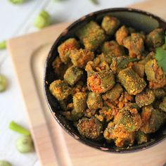 Bhindi Zunka (okra cooked with chickpea flour and spices).