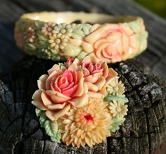 Beautiful Vintage Celluloid Bracelet and Pin