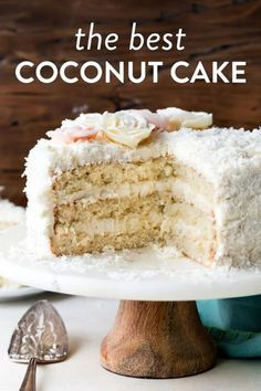 Fluffy and moist coconut cake! This coconut layer cake features shredded coconut, coconut milk, and cream cheese buttercream. Buttercream flowers make a gorgeous decoration for this cake recipe! sallysbakingaddiction.com #coconut #cake #baking Cake Icing, Cupcake Cakes, Poke Cakes, Layer Cakes, Cupcakes, Baking Recipes, Cake Recipes, Dessert Recipes, Easter Recipes
