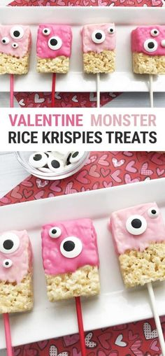 valentines day treats This cute halfway homemade monster Valentine Rice Krispie Treats recipe is the perfect Valentines Day party kids treat! The Rice Krispies Treats are store-bought, so you can make these quick and easy! Valentines Day Food, Kinder Valentines, Homemade Valentines, Valentine Treats, Valentine Preschool Party, Valentines Day Decor Classroom, Valentines Day Gifts For Him Diy, Cute Valentine Ideas, Valentine Party