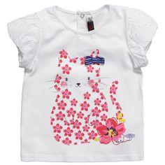 Girls White Cotton Cat Print T-Shirt - Baby   Childrensalon