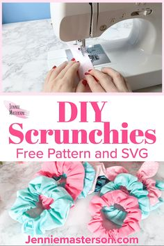 Learn how to make your own scrunchies with a free sewing pattern! Great for adding to those vsco girl hairstyles. (or wrist aesthetic really.) This post has all the information you need to DIY your own cute scrunchies! Click through to get the free sewing Easy Knitting Projects, Diy Sewing Projects, Sewing Projects For Beginners, Sewing Hacks, Sewing Crafts, Sewing Tips, Craft Tutorials, Diy Crafts, Baby Sewing Tutorials