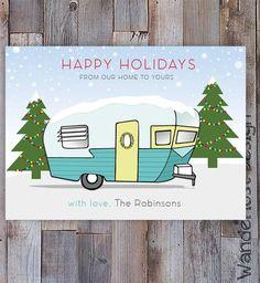Custom Vintage Camper Holiday Card