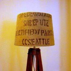 Recycled Coffee Sack Lamp Shade  This is a cool idea for all us coffee lovers. :)