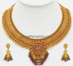 antique necklace and jhumkas by vbj