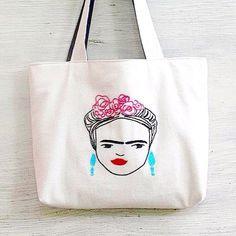 Frida Kahlo tote bag / hand embroidered / shoulder bag / minimalist line drawing / embroidery modern / reusable /  bags handmade