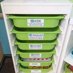Rubric drawers in IKEA Kallax storage system