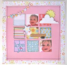 Layout with sewing: cute idea for framing also... for the grandparents.. sending them one each month during the first year... (wish I could go back and do it again!)