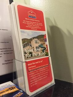 Information pamphlets at the checkin desk,  Ramada Limited, Merritt, BC