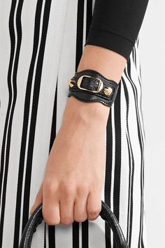 Balenciaga - Arena Textured-leather And Gold-tone Bracelet - Black Balenciaga Bracelet, Balenciaga Tote, Balenciaga Arena, Studs, Stylists, Texture, Lady, Bracelets, Sneakers