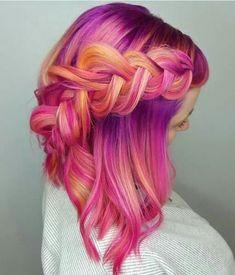 35 Fab Braid Ideas for Short Hair & Tutorials - Frisuren 2019 - Haarfarben Bright Hair, Pastel Hair, Pink Hair, Colorful Hair, Pink And Orange Hair, Pink Yellow, Bright Coloured Hair, Pink Grey, Coloured Braids