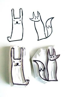 bunny and fox hand carved stamps - - fun forest creatures, carved on erasers. Stamp Printing, Screen Printing, Eraser Stamp, Stamp Carving, Handmade Stamps, Book Crafts, Hand Carved, Stencils, Forest Creatures