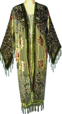 1930's Style Art Deco Silk Velvet Scarf Coat - Forest Green Peacock