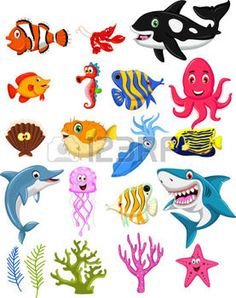 ocean doodle: sea life cartoon collection Illustration