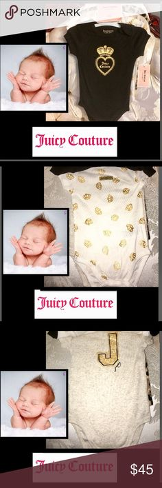 🦋Juicy Couture•5pk Juicy Onesies FIVE Pack🍒All in high couture fashion,five fashionista onesies,crew neck snap bottom 6-9mo Juicy Couture One Pieces Bodysuits