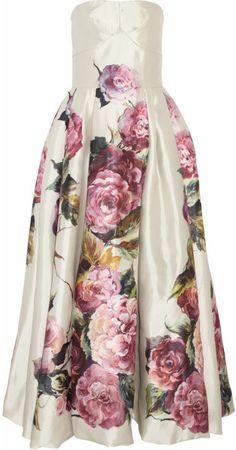 Dolce & Gabbana Pink Roseprint Silk Mikado Dress