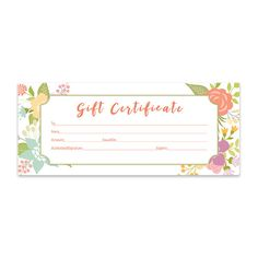 Floral, Watercolor, Flowers . A professionally designed, premade downloadable gift certificate. This is a beautiful marketing piece that you can offer your customers.  $5 https://www.etsy.com/listing/287910365