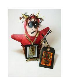 Folk Art Halloween Hell In A Handbasket by twistedpixelstudio, $100.00