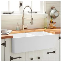 Buy the Signature Hardware 393672 White Direct. Shop for the Signature Hardware 393672 White Reinhard Farmhouse Double Basin Kitchen Sink and save. White Farmhouse Sink, Fireclay Farmhouse Sink, Farmhouse Sink Kitchen, Rustic Kitchen, New Kitchen, Kitchen Decor, Farm Sink, Decorating Kitchen, Awesome Kitchen
