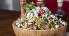 Bulgur Salad by Greek chef Akis Petretzikis. An original, healthy salad recipe with bulgur, feta cheese, chestnuts, pomegranate seeds fresh oregano and mint! Pomegranate Recipes, Pomegranate Salad, Healthy Salad Recipes, Snack Recipes, Bulgur Salad, Dips, Christmas Cooking, Christmas Recipes, Greek Recipes
