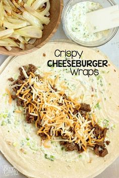 dinner ideas Crispy Cheeseburger Wraps - A crisp wrap filled all the good cheeseburger fixings including smothered onions and a garlic and green onion mayo. Cheeseburger Wraps, Cheeseburger Quesadilla, Beef Dishes, Food Dishes, Main Dishes, Food Food, Kitchen Recipes, Cooking Recipes, Meal Planning