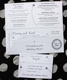 Black & White Simple & Clean Airplane & Dots Boarding Pass Wedding Invitations
