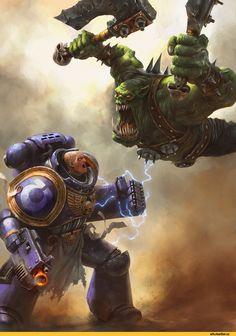 Orks,Warhammer 40000,warhammer40000, warhammer40k, warhammer 40k, ваха, сорокотысячник,фэндомы,Ультра превозмогает орков,Wh Other,Ultramarines,Ультрамарины,Space Marine,Adeptus Astartes,Imperium,Империум