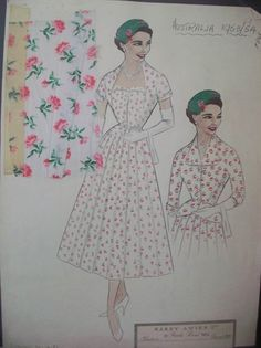 Hardy Amies, the official dressmaker to Queen Elizabeth II. Sketch: Queen in tiny rose bud print design on NOWNESS.