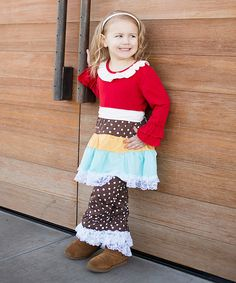 Another great find on #zulily! Red & Brown Dot Dress & Leggings - Toddler & Girls by Little Miss Fairytale #zulilyfinds