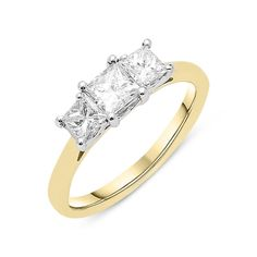 Yellow Gold Diamond Princess Cut Trilogy Ring, Authorised stockists, Buy online today with and Free Delivery. Trilogy Engagement Ring, Princess Cut Engagement Rings, Diamond Rings, Diamond Jewelry, Diamond Cuts, Engagement Inspiration, Princess Cut Diamonds, Fashion Rings, Ring Designs