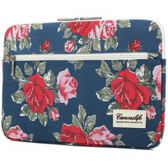 Canvaslife big blue Flower Patten laptop sleeve 14 inch 14.0 inch... (12 CAD) ❤ liked on Polyvore featuring accessories, tech accessories, laptop sleeve cases and blue laptop case