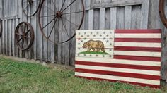 California Flag Wood and United States Flag Wood  by TheScarletOak