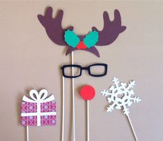 Christmas Photo Booth Props – Set of 5 Rudolph The Red Nosed Reindeer Holiday PhotoBooth Props Christmas Party Decorations Photo Prop | best stuff