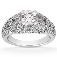 0.50 Carat Moissanite and Diamond Vintage Style Engagement Ring - ApplesofGold.com