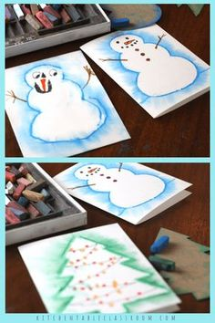 Try this chalk pastel technique to make a snowman drawing the easy way! This ide… Try out this chalk pastel technique to make a snowman easy to draw! This idea is a quick vacation project, perfect for making Christmas cards and more! Simple Christmas Cards, Easy Christmas Crafts, Christmas Art, Christmas 2019, Draw A Snowman, Snowman Crafts, Snowflake Drawing Easy, Theme Noel, Chalk Pastels