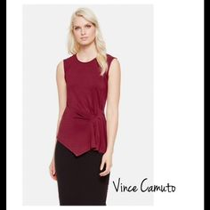 Burgundy Side Rouched Top Beautiful rich burgundy basic by Vince Camuto. Asymmetrical front. Ruched style on left side. Scoop neckline. 96% rayon 4% Spandex. Size medium and stretchy. Thin material but not see through. Selling for my mom. Tag label is peeled. She purchased on sale and selling for same price. Fits true to size to a medium. Vince Camuto Tops