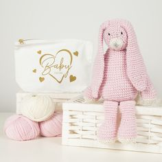 Heres our Mabel Bunny Knitting Kit made with our beautiful DK yarn. You can see her in pink. She also looks good in grey. Giant Knitting, Knitting Kits, Knitting Patterns, Crochet Needles, Knitting Needles, Craft Kits, Diy Kits, Mini Ma, Baby Couture