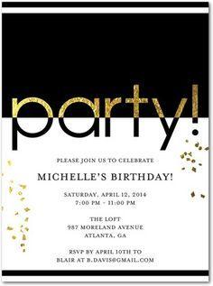 Glam Party - Adult Birthday Party Invitations - Umbrella - Black
