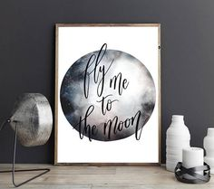 Fly Me to the Moon Frank Sinatra Quote Watercolour Moon Typography Wedding Anniversary Couples Gift Wall Art Print Watercolor Moon, Watercolor Paper, Sun Prints, Wall Art Prints, Frank Sinatra Quotes, Moon Wedding, Textiles Techniques, Japanese Textiles, Travel Themes