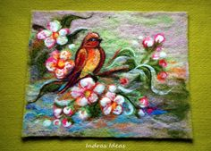 Spring time needle felted art by Indrasideas on Etsy