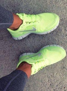 Neon Yellow Nike Freerun Running Shoes