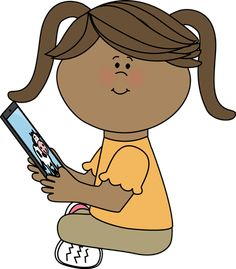 Girl reading on an iPad from MyCuteGraphics