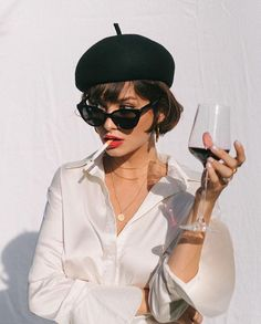 As French As It Gets! Short Dark Bob, Black Beret, Red Lipstick And A Glass Of Red Wine