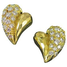 Henry Dunay Diamond Hand Hammered Gold Heart Shape Earrings | From a unique collection of vintage more earrings at https://www.1stdibs.com/jewelry/earrings/more-earrings/