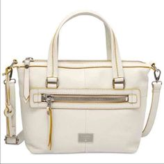 """Fossil Dawson pebbled leather satchel Fossil Dawson pebbled leather satchel/crossbody bag, Vanilla, NWT, ZB6712120, List Price: $198  Leather Interior Material: Twill- 100% Cotton Strap/Handle Drop Length: 6.5"""" Double Handle, 40"""" Strap (adjustable & detachable) Zipper closure with logo pull Exterior features hanging key charm, 1 front zip pocket and 1 back slip pocket, Fossil Nickel Roller Hardware Interior features 1 zip pocket and 2 media pockets Measurements: 13""""L x 4""""W x 8.5""""H Silhouette…"""