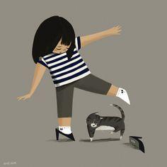 Girl in heels: Illustration by Kirstie Edmunds #illustration #girl #cat #kirstie_edmunds