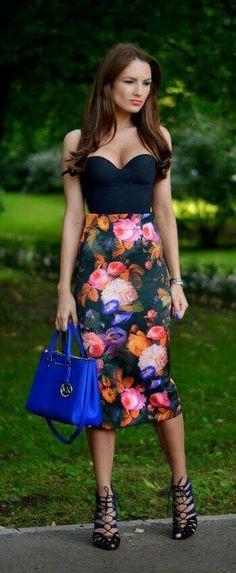 Falda de lápiz estampado florar outfit primavera 2016