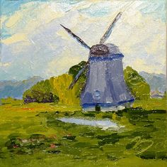 "Daily Painting: Day 18""Dutch windmill""Oil on canvas panel6""x6"""