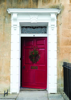 Front door in Rectory Red by Farrow & Ball