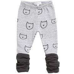 Baby girl's cute grey leggings by Belly Button made from organic soft cotton jersey. Soft, lightweight, andenough room for a nappy, with an all over graphic cat print, ideal for small babies. They have an elasticated waist and dark grey ruched ankle cuffs.<br /> <ul> <li>100% cotton, (soft cotton jersey feel)</li> <li>Machine wash (30*C)</li> <li>Elasticated waist</li> <li>Designer colour:silver melange gray  </li> </ul>